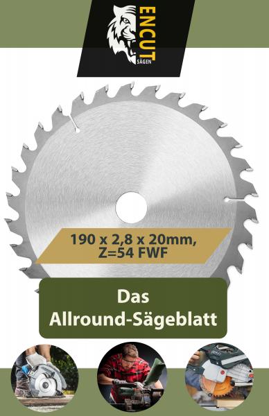 Encut Allround Kreissägeblatt 190 x 2,8 x 20mm, Z=54 FWF, Ideal für Holz, Metall & Alu