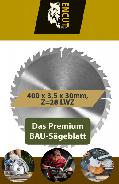 Allround Bau Kreissägeblatt 400 x 3,5 x 30mm, Z=28 LWZ-S, Ideal für Holz/Brennholz