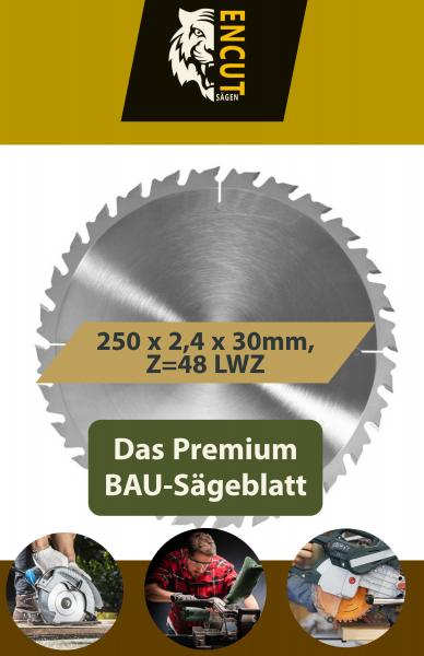 Allround Bau Kreissägeblatt 250 x 2,4 x 30mm, Z=48 LWZ, Ideal für Holz/Brennholz