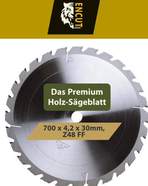 HM Kreissägeblatt 700 x 4,2 x 30mm, Z=48 (FF-Zahn) für Holz/Brennholz Nagelfest für Wippsäge