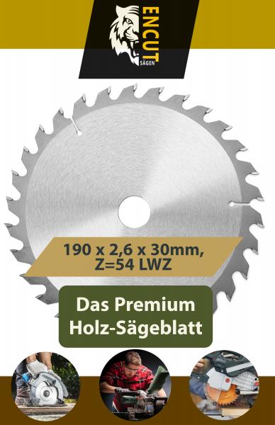 Encut Allround Holz Kreissägeblatt 190 x 2,6 x 30mm, Z=54 LWZ, Ideal für Holz