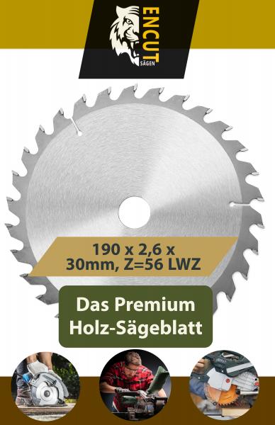 Encut Allround Holz Kreissägeblatt 190 x 2,6 x 30mm, Z=56 LWZ, Ideal für Holz